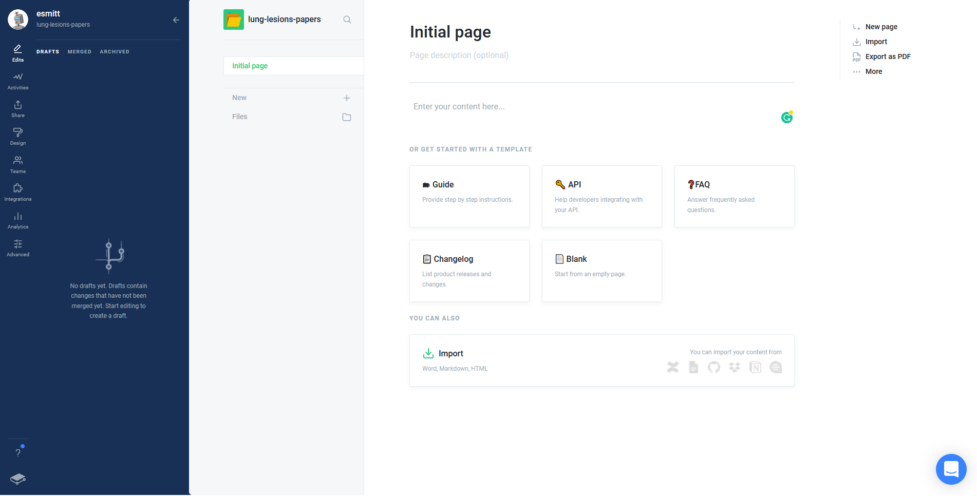 starting page in Gitbook