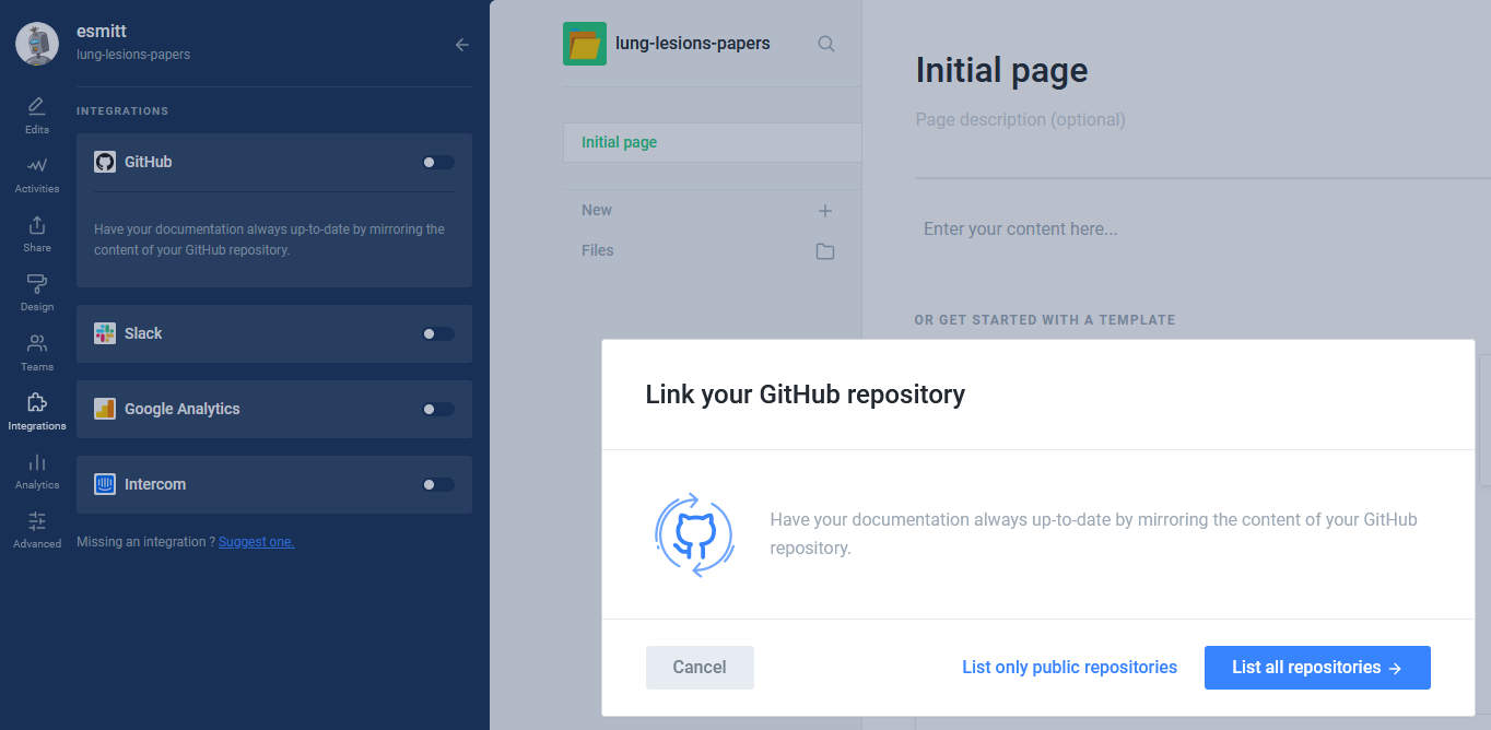 The page where you can link your Github's repository