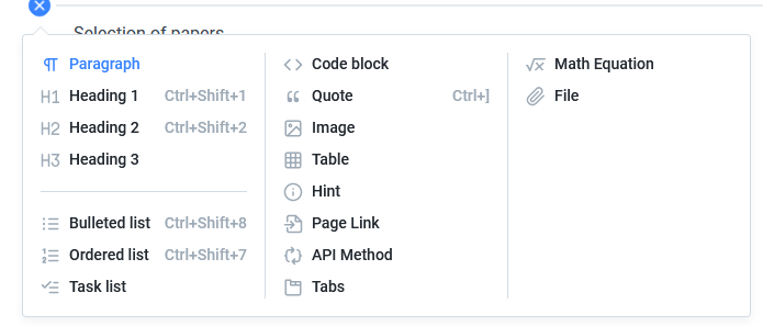 different options for writing in GitBook