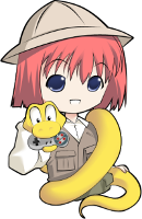 logo where a anime' girl is carrying a python with a game pad on its mouth