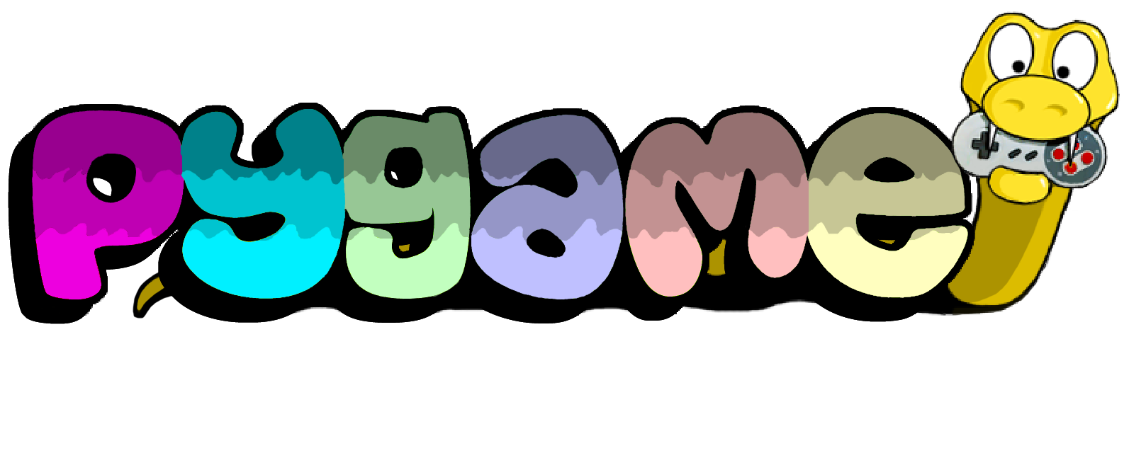 Pygame logo where letters appears with a python at right side