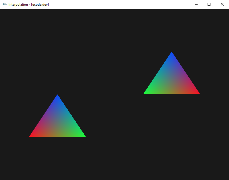 Two triangles separated in the screen